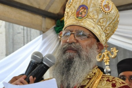 The Patriarch of the Ethiopian Church was visibly emotionnal when he announced the theft.