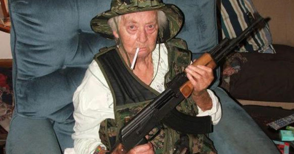Grandmother With AK 47 Saves Cops Being Attacked By Street Gang