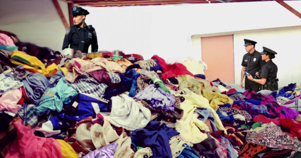 The police has released some pictures of Mr. Davis' basement, where thousands of female underwear are amassed.