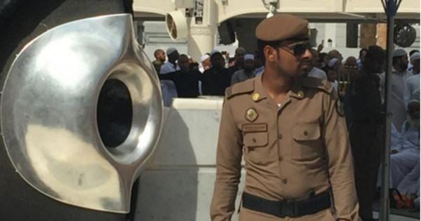 """Policemen arrested the man in the Holy City of Mecca after he kept """"vomiting"""" and """"peeing"""" according to Saudi authorities."""